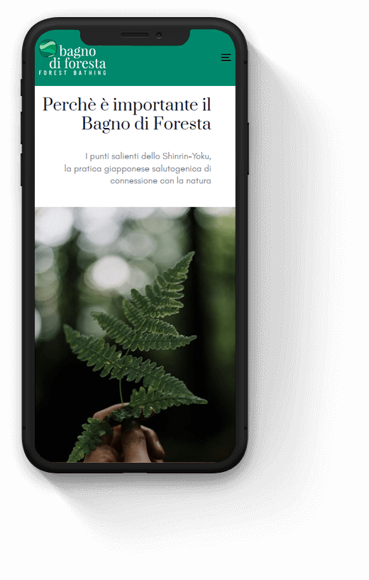 bagno di foresta: progetto web realizzato da Artdisk, visualizzato da mobile