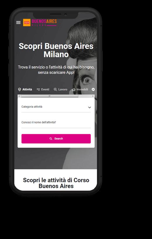 Buenos Aires Milano: progetto web realizzato da Artdisk, visualizzato da mobile