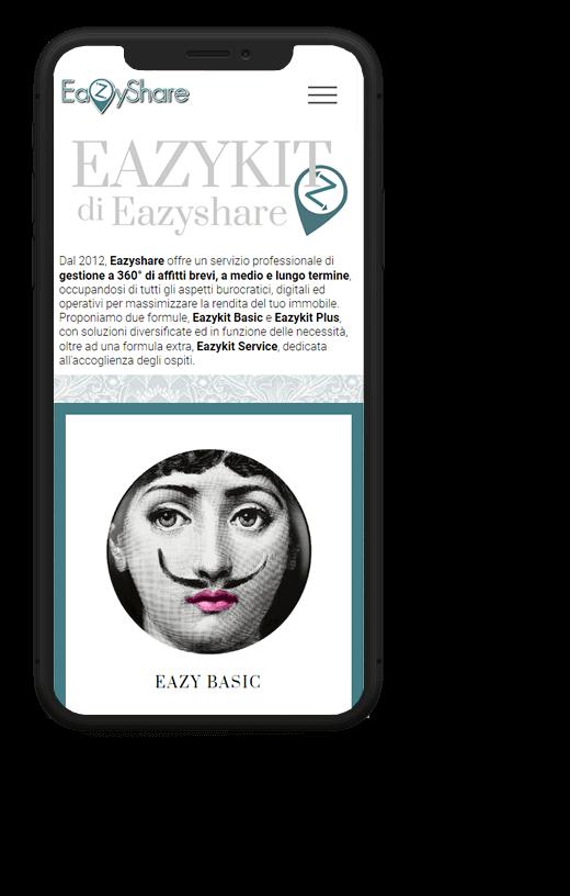 EazyShare: progetto web realizzato da Artdisk, visualizzato da mobile
