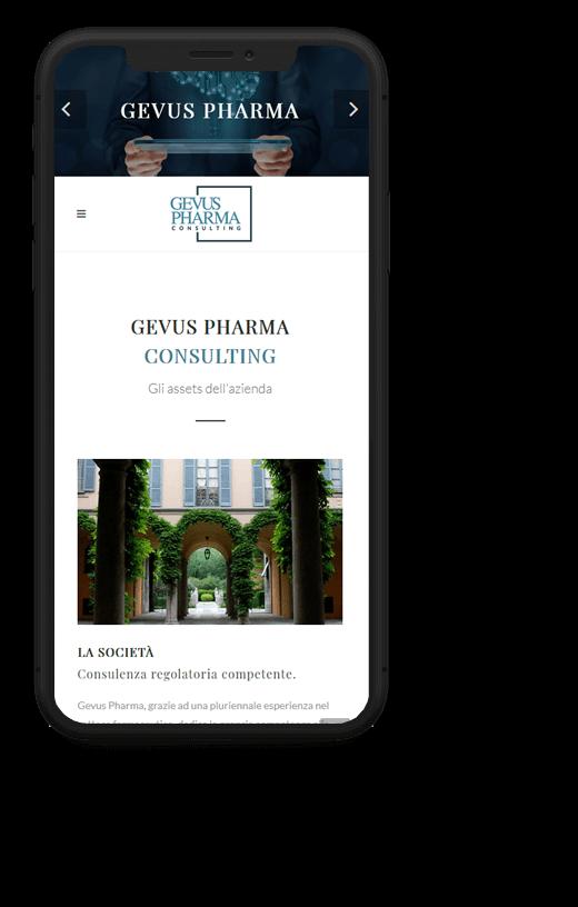 Gevus Pharma: progetto web realizzato da Artdisk, visualizzato da mobile