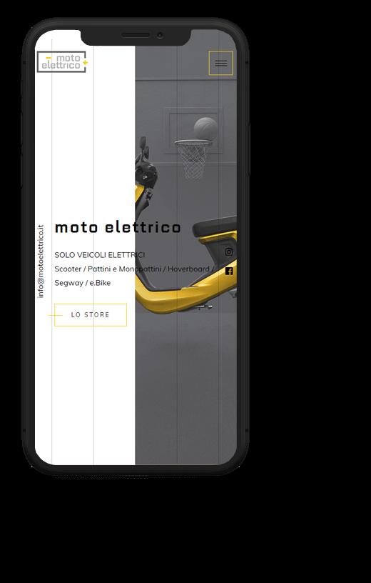 Moto Elettrico: progetto web realizzato da Artdisk, visualizzato da mobile