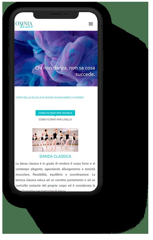 Omnia Dance: progetto web realizzato da Artdisk, visualizzato da mobile