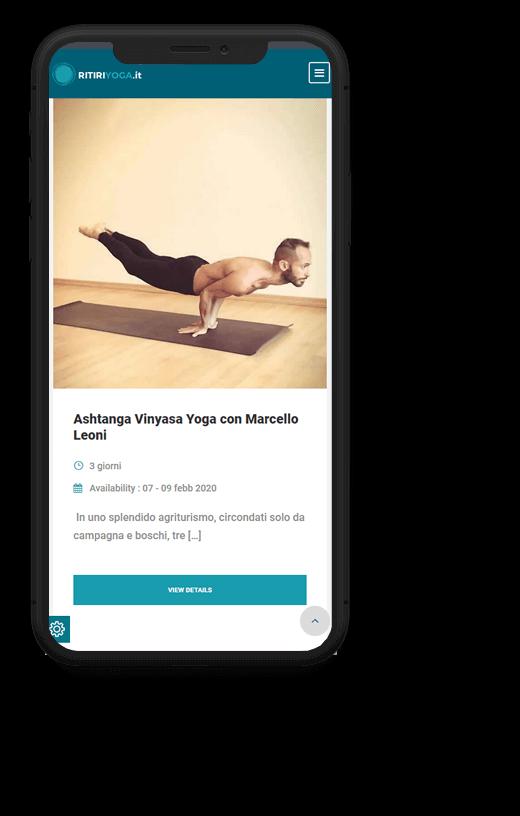 Ritiri Yoga: progetto web realizzato da Artdisk, visualizzato da mobile